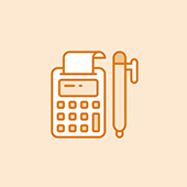 Giving amount icon with a calculator and a pen